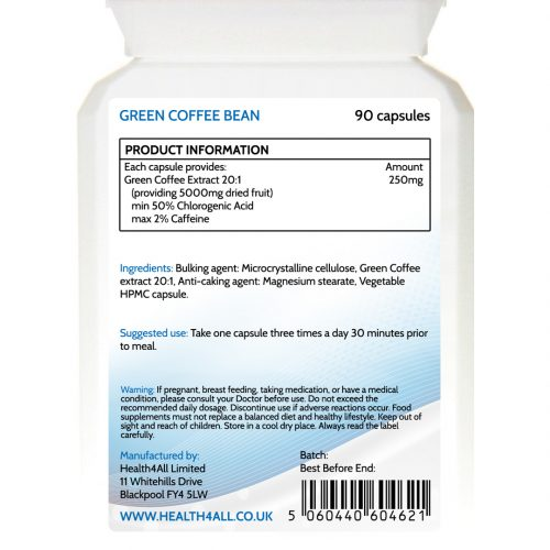 Green Coffee Bean Extract 5000mg capsules - free UK delivery from Health4All