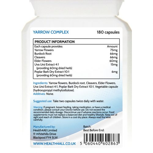 Yarrow complex capsules for joint stiffness - free UK delivery from Health4All