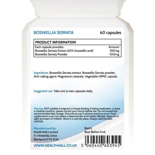 Boswellia serrata 65% boswellic acid capsules