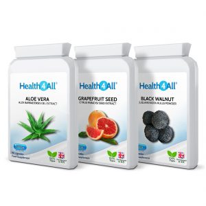 Candida Detox Set: Aloe Vera, Grapefruit Seed Extract, Black Walnut Hulls Capsules - free UK Delivery from Health4All Online Supplements Store