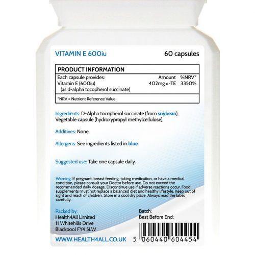 Natural Vitamin E d-alpha tocopherol succinate vegan capsules from soya
