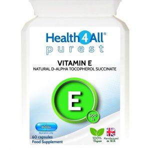 Natural Vitamin E d-alpha tocopherol succinate vegan capsules