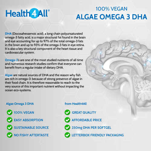 Vegan Omega 3 DHA from Algae Oil Softgels - free UK delivery from Health4All