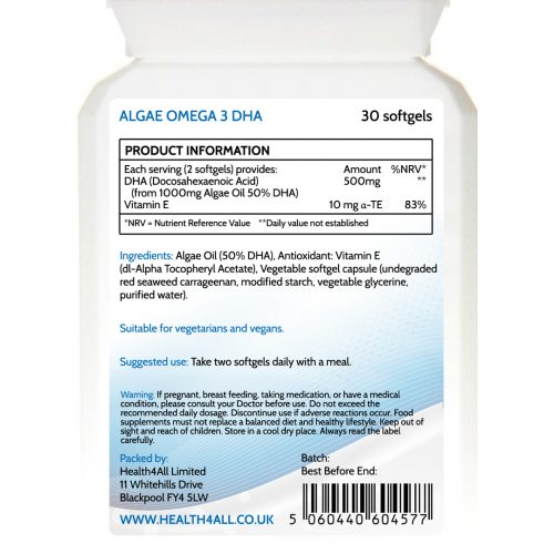 Vegan Algae Omega 3 DHA Oil Softgels - free UK delivery from Health4All