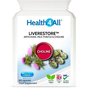 Liverestore 60 capsules healthy liver supplement with artichoke, milk thistle and choline
